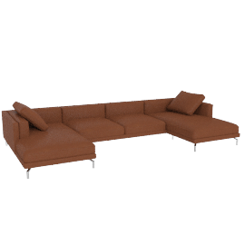 Como Double-Chaise Sectional in Leather, Canyon