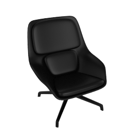 Striad Chair, Mid Back with 4-Star base, MCL Leather Black, 4-Star, Black Base