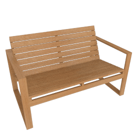 Block Island Two-Seater Sofa, Teak