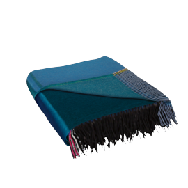 Color Block Throw, Black-Blue