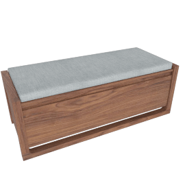 Matera Storage Bench with Cushion, Walnut, Surf