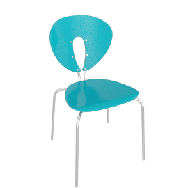 Globus Chair - Plastic/Chrome - Shiny.Skyblue