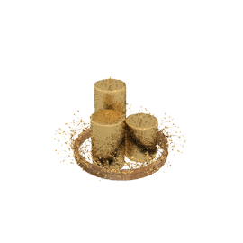 3 Pillar Candles in Ring, Gold