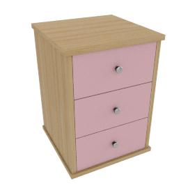 Corey 3 Drawer Bedside Cabinet, Pink