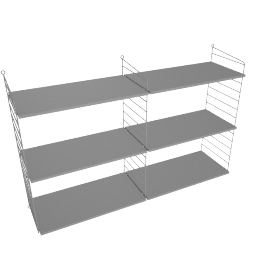 String Wall Shelving - 2 Bay - 24'', Grey