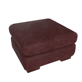 Granada Leather Footstool, Burgundy