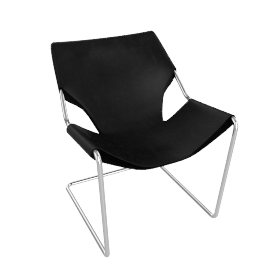 Paulistano Armchair in Canvas - Charcoal.Stnls