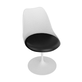 Saarinen Tulip Armless Chair - Volo Leather - White.Black