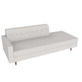 Bantam Studio Sofa, Left in Basket Fabric - Ivory.Walnut