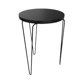 Florence Knoll Hairpin Stacking Table, Black Top Black Base