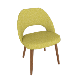Saarinen Executive Side Chair with Wood Legs, Knoll Boucle - Chartreuse