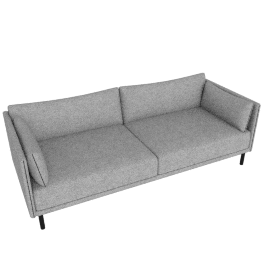 Silhouette Three-Seater Sofa, Charcoal / Black