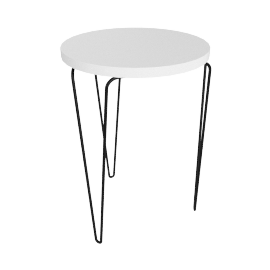 Florence Knoll Hairpin Stacking Table, White Top Black Base
