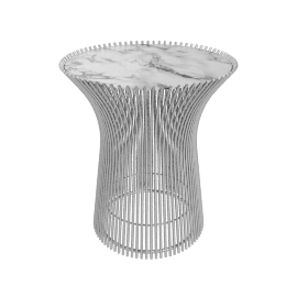 Platner Side Table, Polished Arabescato Top, Nickel Base
