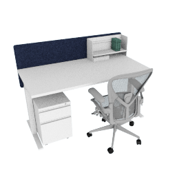 Ergonomic Advanced Bundle, White Frame, Heathered Navy Screen