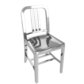 1006 Navy Side Chair - Polished