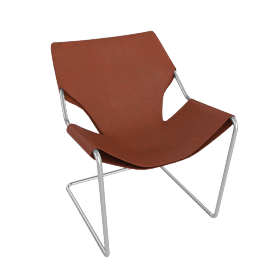 Paulistano Armchair in Leather, Stainless Steel Frame with Terra Cotta