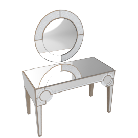 Mystique Console With Mirror-Silver/Gold