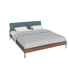 Raleigh King Bed, Ducale Wool Robins Egg Walnut Frame