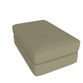 Reid Ottoman in Fabric, Parchment