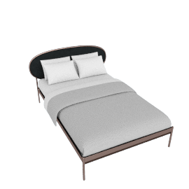 Asare Double Size Bed, Copper/Midnight Grey Velvet