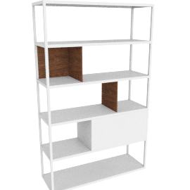 Kai Shelving Tall, White/Walnut
