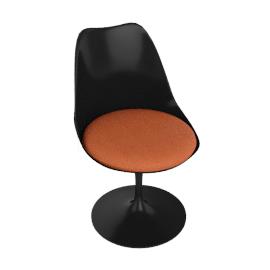 Saarinen Tulip Armless Chair - Vinyl - Black.Carrot