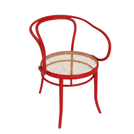 Era Round Armchair with Cane Seat - Red