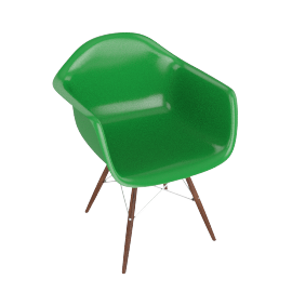 Eames Molded Fiberglass Dowel-Leg Armchair (DFAW), Green with Chrome Base and Walnut Leg