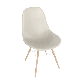 Eames Molded Fiberglass Dowel-Leg Side Chair (DFSW), Parchment with Chrome Base and Maple Leg