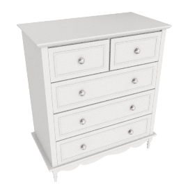 Victoria 5 Drawer Chest, Ivory