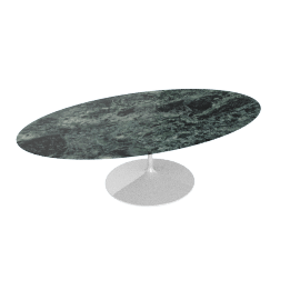 Saarinen Oval Dining Table 96'', Coated Marble 2 - Wht.VerdeAlpi