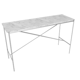 Outline Console Table, Stainless Steel Base Carrara Top