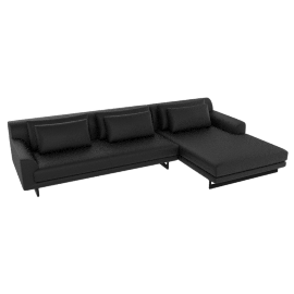 Lecco Sectional with Right Chaise, Black Kalahari Leather with Black Base