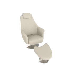 Orson Leather Chair & Footstool, Cream
