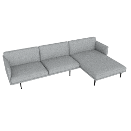 Outline Sectional with Right Facing Chaise, Maharam Mode - Surf