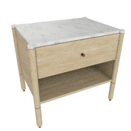 Morrison Bedside Table, Oak with Carrara