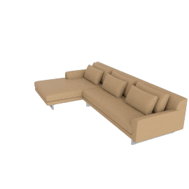 Lecco Sectional with Chaise, Kalahari Leather - Sand with Aluminium Base