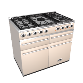 Falcon 1000 Dual Fuel Range Cooker, Cream / Chrome