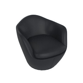 Lina Swivel Chair, Kalahari leather - Black