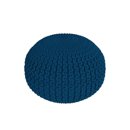 Chunky Cotton Braided Round Pouf, Blue
