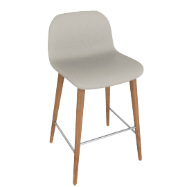 Bacco Counter Stool, Grey Leather w Walnut Leg