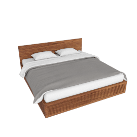 Line Storage King Bed, Walnut