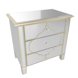 Casablanca Mirrored 3-Drawer Nightstand