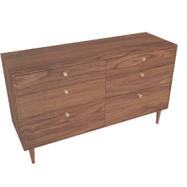 American Modern 6-Drawer Dresser in Walnut
