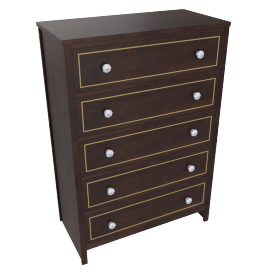 Indiana Chest Of 5 Drawers-D.Brn/Ant. Gold