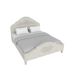 Mono Suzani King Bed with Upholstered Headboard - 230x193 cms