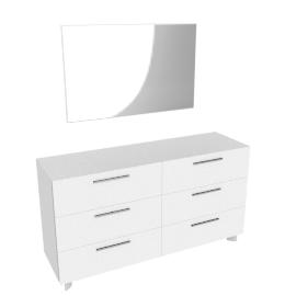 Next Dresser W/Mirror, HG Wht/HG Pearl Grey