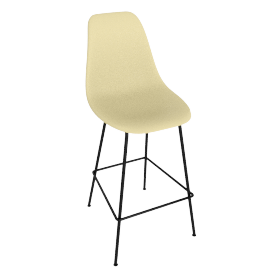 Eames Molded Plastic Barstool, DSHBX, Pale Yellow with Black Base