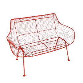 Sculptura Bench, Red Orange